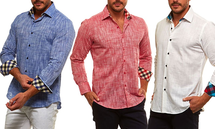 Suslo Couture Men's Linen Button-Down Shirts | Groupon