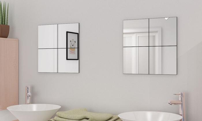 Spiegel Zonder Lijst : Vierkante spiegeltegels cm groupon