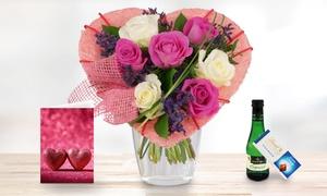 Blumenhaus Ehrend: Blumenstrauß mit 7 Rosen und Herzmanschette + Lindt Schokolade, Piccolo und Grußkarte von Bluvesa (42% sparen*)