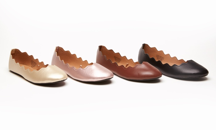 Sociology Women's Scallop Ballet Flat | Groupon Exclusive