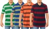 Men's Semi-Fitted Striped Pique Polo Shirt: Men's Semi-Fitted Striped Pique Polo Shirt