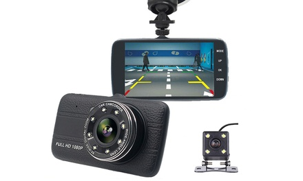 .95 for a 1080p HD Front and Rear Dash Camera with 4.0″ Display and Optional 16GB SD Card