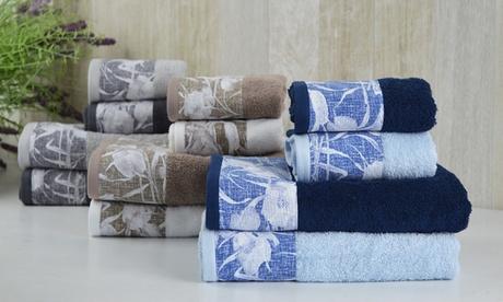 Set di 4 asciugamani Khuri in cotone Cieffepi Home Collections, disponibile in 3 combinazioni di colori