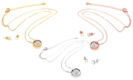 One, Two or Three Sets of Julianna One Heart Duo Necklace and Earrings