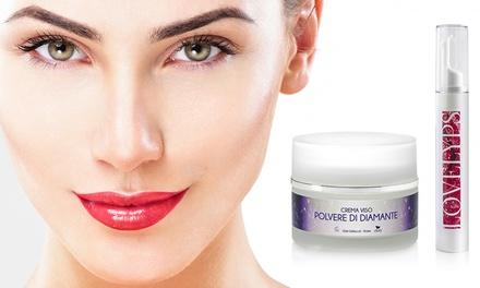 1 o 2 packs con cremas faciales de polvo de diamante y crema de labios con efecto relleno Efory Cosmetics