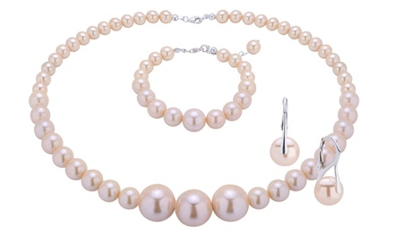 129,99 zł zamiast 999 zł: 3-częściowy zestaw biżuterii z różowych pereł stopniowanych oraz srebra 925