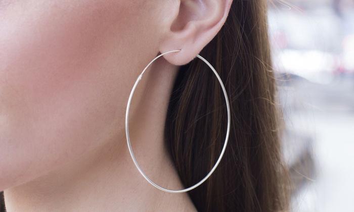 192b92d86 Nina & Grace 3mm x 35mm–80mm Sterling Silver Endless Hoop Earrings