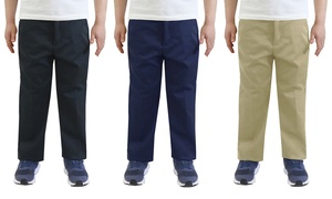 Boy's Flat Front School Uniform and Casual Pants (3-Pack)