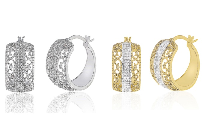 Diamond Accent Filigree Huggie Hoop Earrings With French Locks