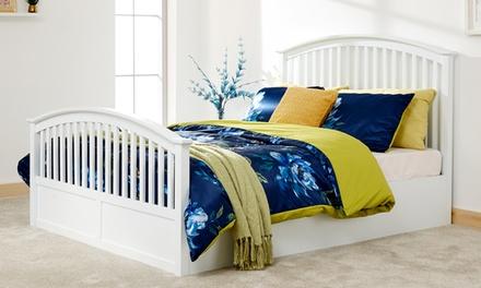 side opening wooden ottoman bed groupon. Black Bedroom Furniture Sets. Home Design Ideas