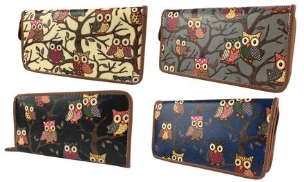 Women's Pearl Fashion Owls Glitter Elegant Wallet Purse