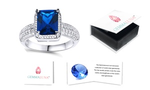 Gemma Luna 7.00 CTTW Emerald Cut Sapphire Ring in Sterling Silver