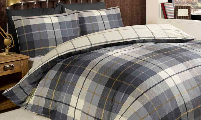 Rapport Home Reversible Checked Duvet Cover Set in Choice of Colour for £13