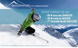 SKIOGRANDE: 1 ou 2 cartes télépéage avec première journée et des remises jusqu'à 50% sur des forfaits ski dès 19,90€ avec Skiogrande
