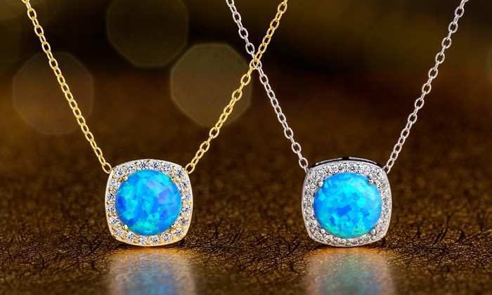 Sterling Silver Created Opal /& Blue CZ Pendant