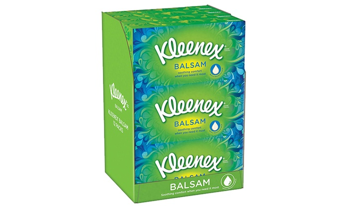 Pack of 12 or 24 Tissue Boxes of Kleenex Protective Balsam Facial Tissues from £14.99