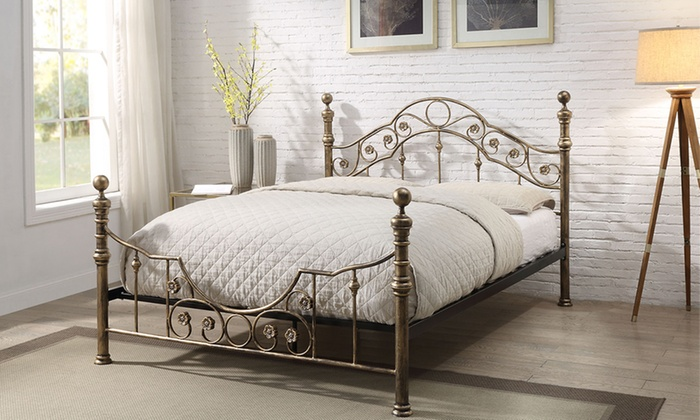 Antique-Style Bed Frame with Optional Mattress