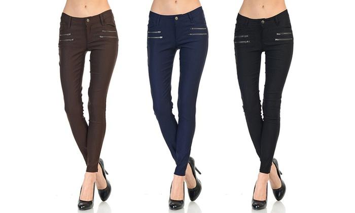 Women's Double-Zipper Skinny Pants (3-Pack)