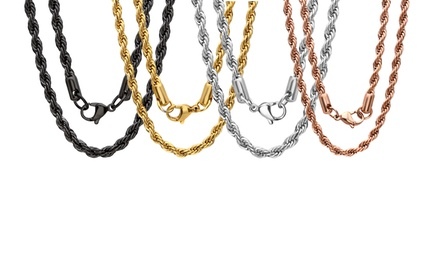 Unisex 18K Gold-Plated and Stainless Steel Chain Necklace