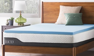 Lucid Memory Foam Mattress Topper. Multiple Options Available.