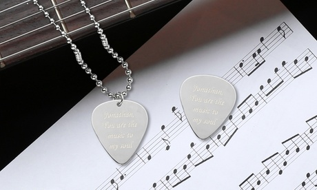 Personalized Guitar Pick and Matching Necklace in Stainless Steel and Sterling Silver from Monogram Online 0c1a2c6c-b2c7-4c00-b33c-e5134c16bc3d