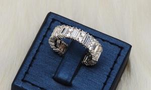 Baguette Cubic Zirconia Eternity Ring in Sterling Silver by Lexi Li