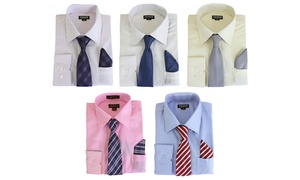 Men's Solid & Striped Long Sleeve Dress Shirt with Mystery Tie