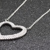 Cubic Zirconia Heart Necklace in Rhodium Plating by Pink Box