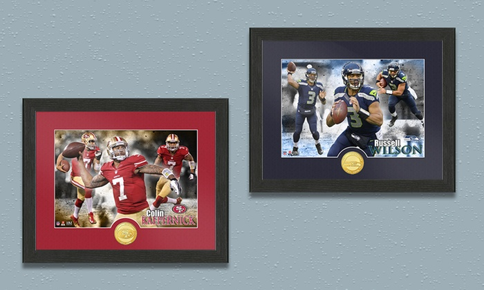 NFL Star-Player Framed Photo with Minted Team Coin: Officially Licensed NFL Star-Player Framed Photo with Minted Team Coin and Certificate of Authenticity