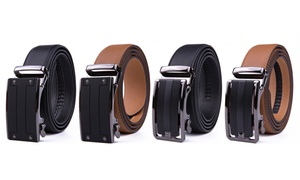Braveman Men's Automatic Ratchet-Buckle Leather Dress Belt