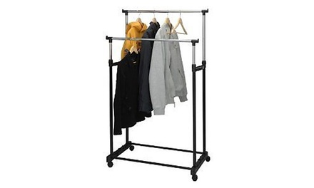 One (£11.99) or Two (£21.98) Double Clothes Rails on Wheels with Shoe Rack