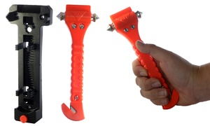 2-in-1 Emergency Hammer and Seat Belt Cutter with Cradle