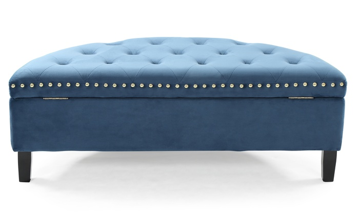 Terrific Up To 60 Off On Velvet Half Moon Storage Ottoman Groupon Beatyapartments Chair Design Images Beatyapartmentscom
