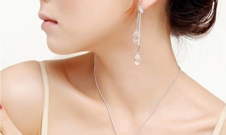 Collar y pendientes adornados con cristales Justine