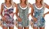 Women's Printed Sleeveless Pleated Vest T-Shirt