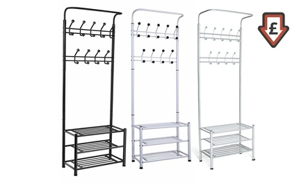 One or Two 18-Hook Multifunctional Shoe and Coat Storage Racks