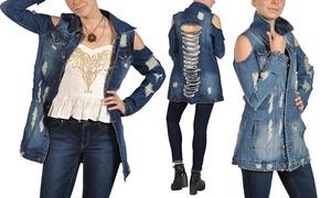Junior Women's Ripped Backless Denim Jacket