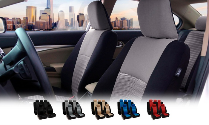 3D Air Mesh Side Airbag Compatible Car Seat Cover Set 9 Piece