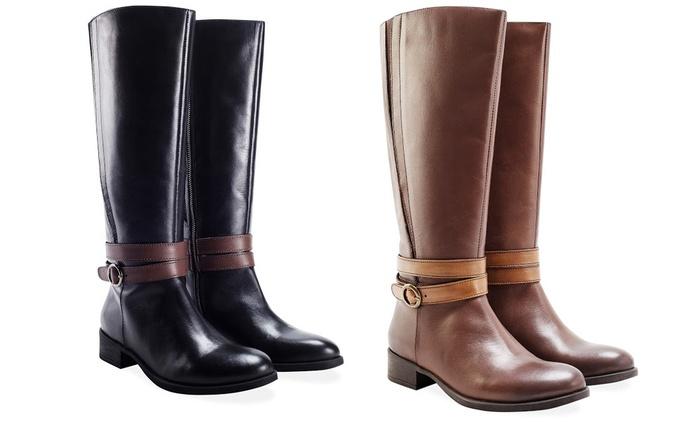 Bottes cavalières en cuir ajustables, tailles et coloris aux choix à 59,90 € (77% de réduction)