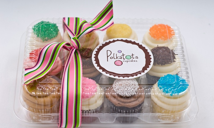 """Polkatots Cupcakes - East Central: One Dozen """"Minis"""" or """"Biggies"""" at Polkatots Cupcakes (Up to 32% Off)"""