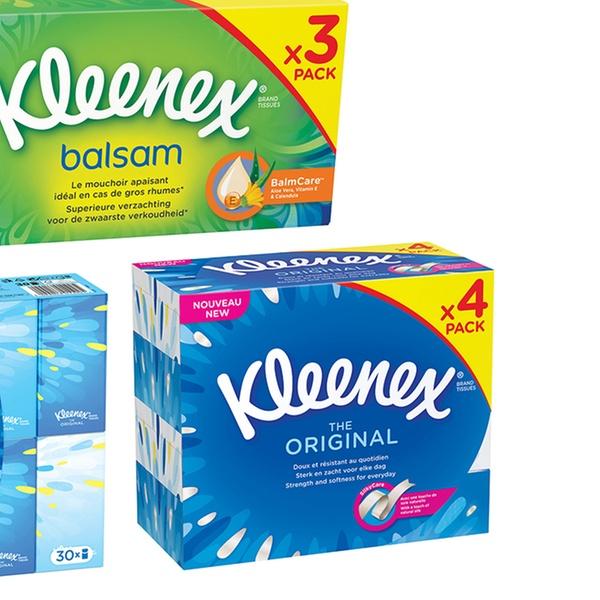 Pa/ñuelos de papel Kleenex B/álsamo en paquetes de bolsillo
