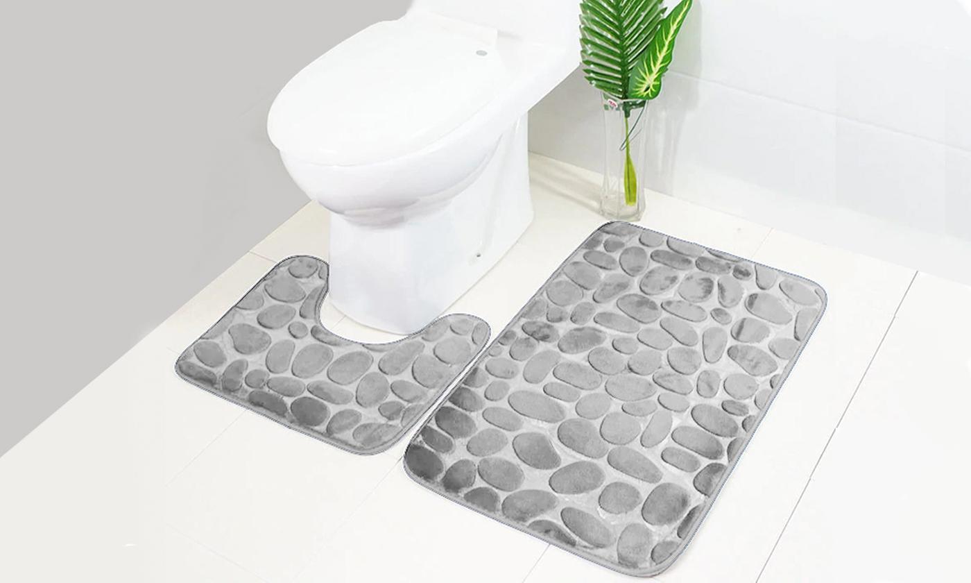 Two-Piece Absorbent Pebble Bathroom Mat Set