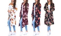 Women's Draped Knee-Length Floral Cardigan