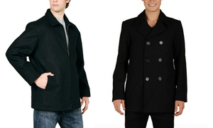 Maxxsel Men's Wool-Blend Zipper Jacket or Pea Coat