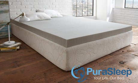 PuraSleep Carbon Comfort Gel Memory Foam Mattress Topper