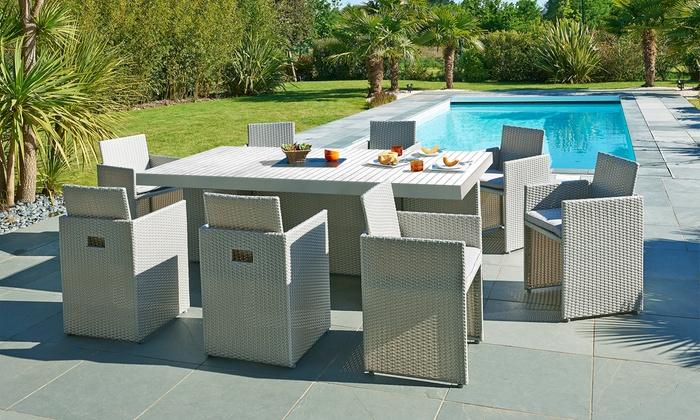 Ensemble de jardin encastrable 8 places en résine tressée et table bois  composite, livraison offerte