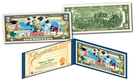 Happy Graduation 2018 Genuine $2 Bill with Diploma-Style Certificate