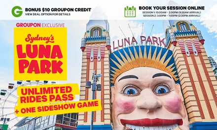 Luna Park Sydney Groupon Credit Bundle: $44.90 for a 4h Unlimited Ride Pass + One Sideshow Game + $10 Groupon Credit