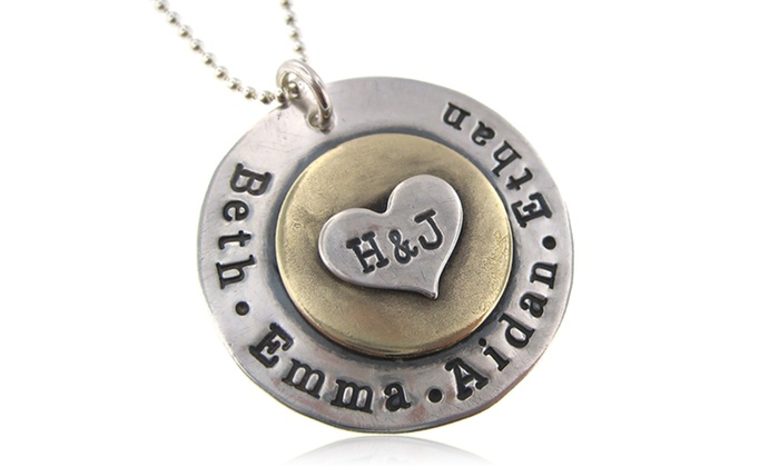 Custom hand stamped heart disc pendant from hannah design groupon custom hand stamped heart disc pendant from hannah design mozeypictures Choice Image