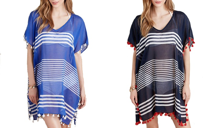Women's Tassel and Stripe Chiffon Swimsuit Cover Up